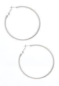 Large Textured Hoop Earrings