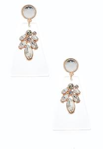 Lucite Rhinestone Dangle Earrings