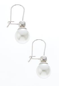 Pearl Ball Wire Earrings
