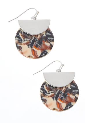 Half Moon Metal Disc Marbled Earrings