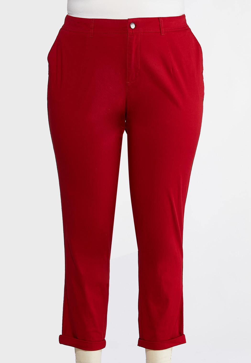 Plus Size Chino Ankle Pants