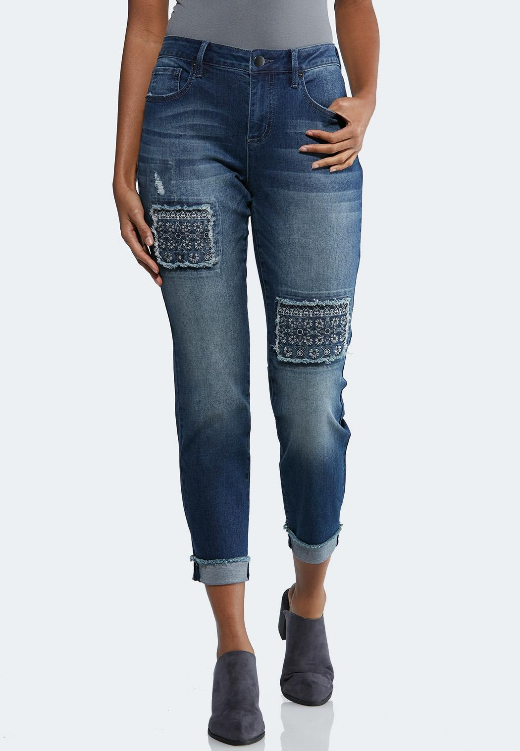 ad4a4f55a9 Distressed Patchwork Ankle Jeans alternate view Distressed Patchwork Ankle  Jeans