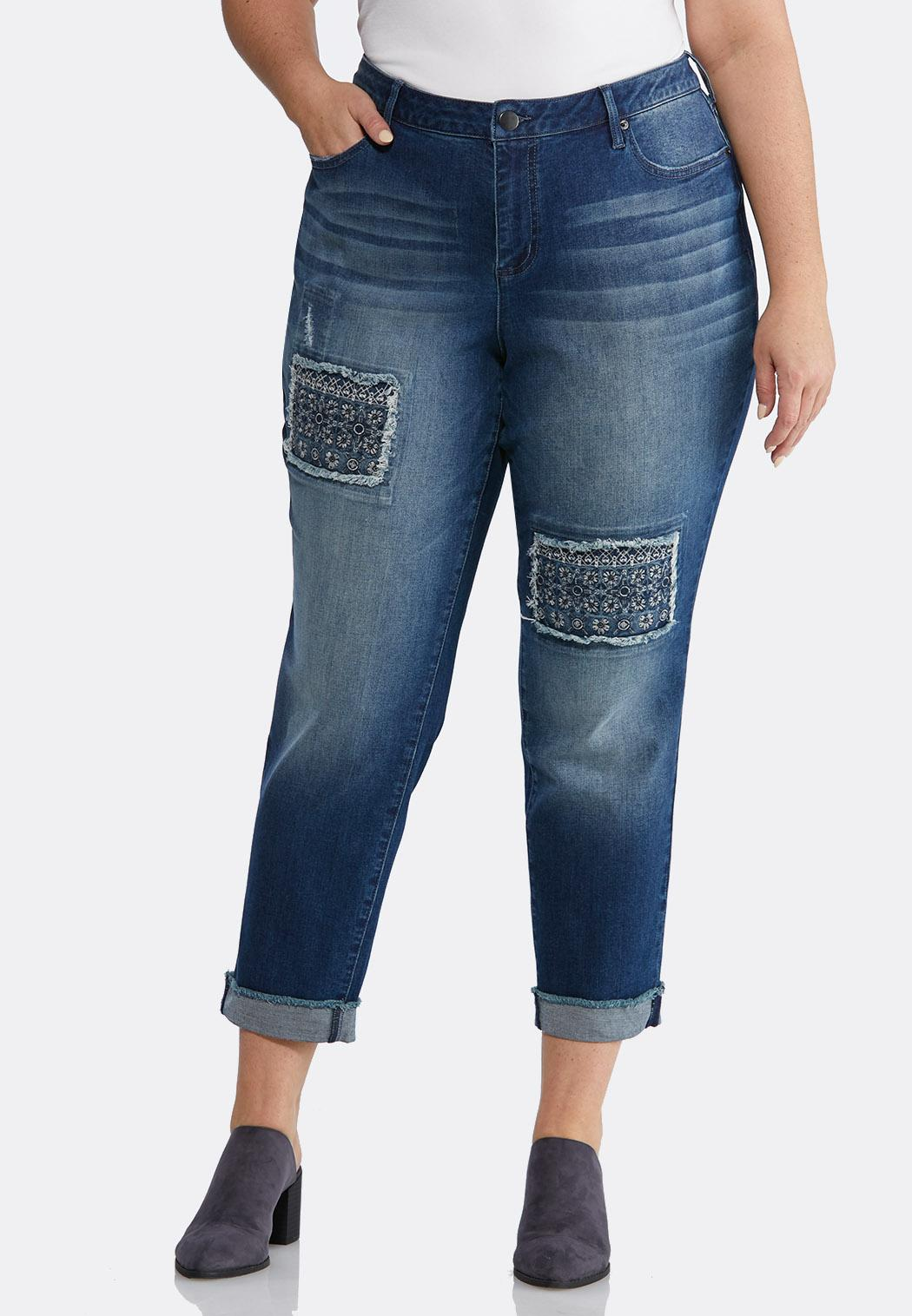 Plus Size Distressed Patchwork Ankle Jeans