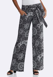 Medallion Tie Front Palazzo Pants