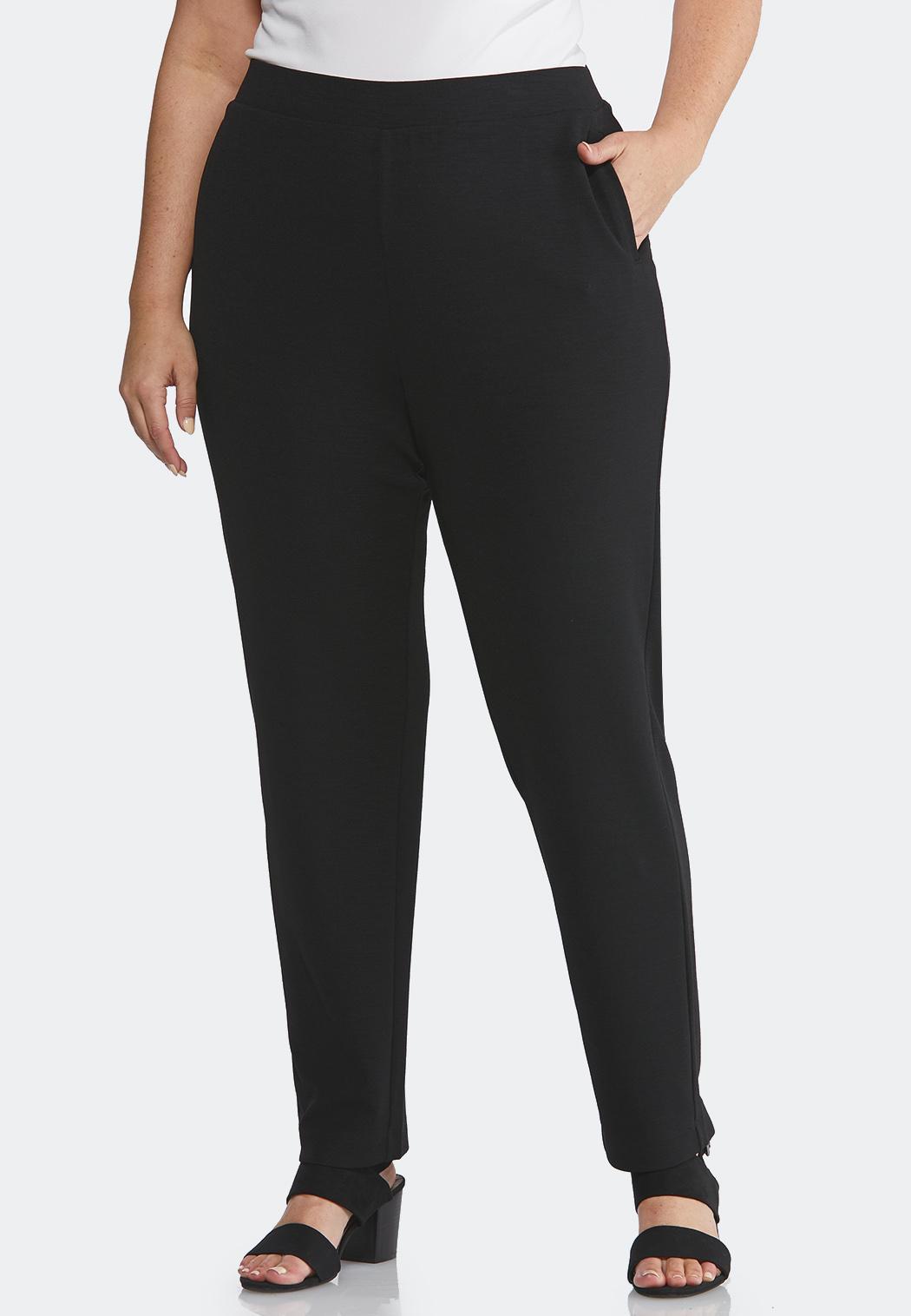 Plus Size Jersey Slim Pocket Pants