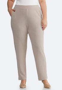 Plus Size Jersey Slim Pocket Pants