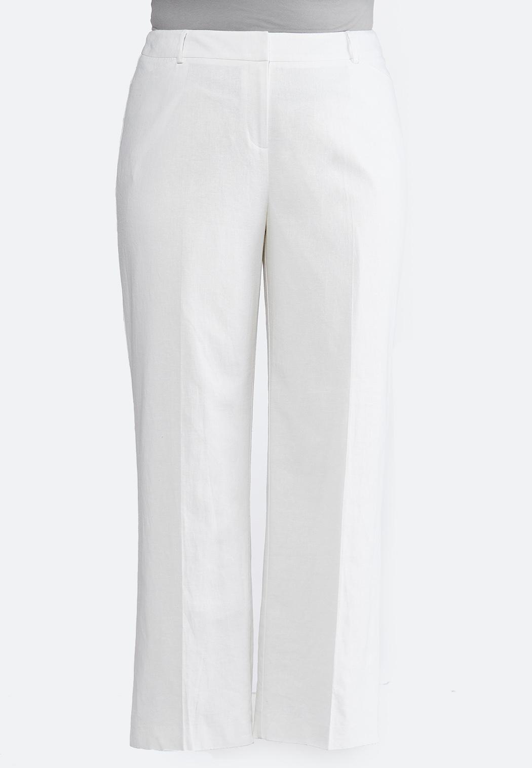 aa27a3d13aa Plus Size White Linen Trouser Pants Wide Leg Cato Fashions