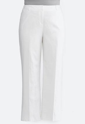 Plus Size White Linen Trouser Pants