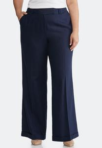Plus Size Navy Linen Trouser Pants