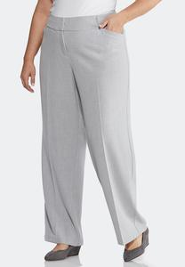 Plus Size Gray Heather Trouser Pants