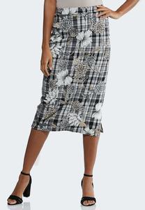 Floral Plaid Pencil Skirt