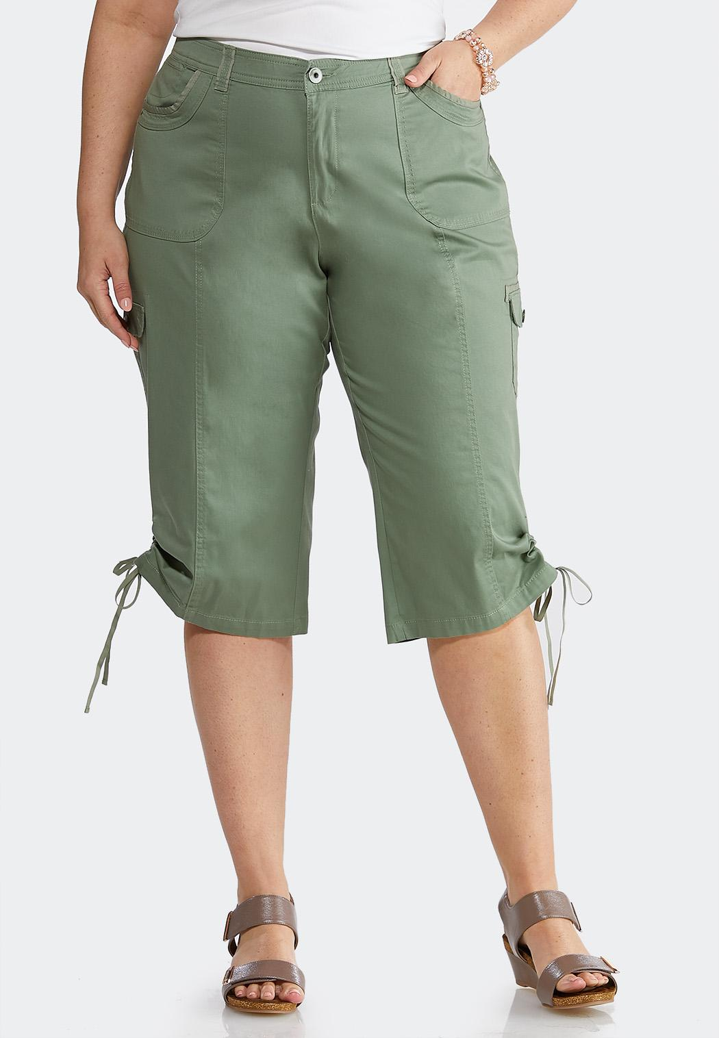 Plus Size Cropped Tie Hem Cargo Pants