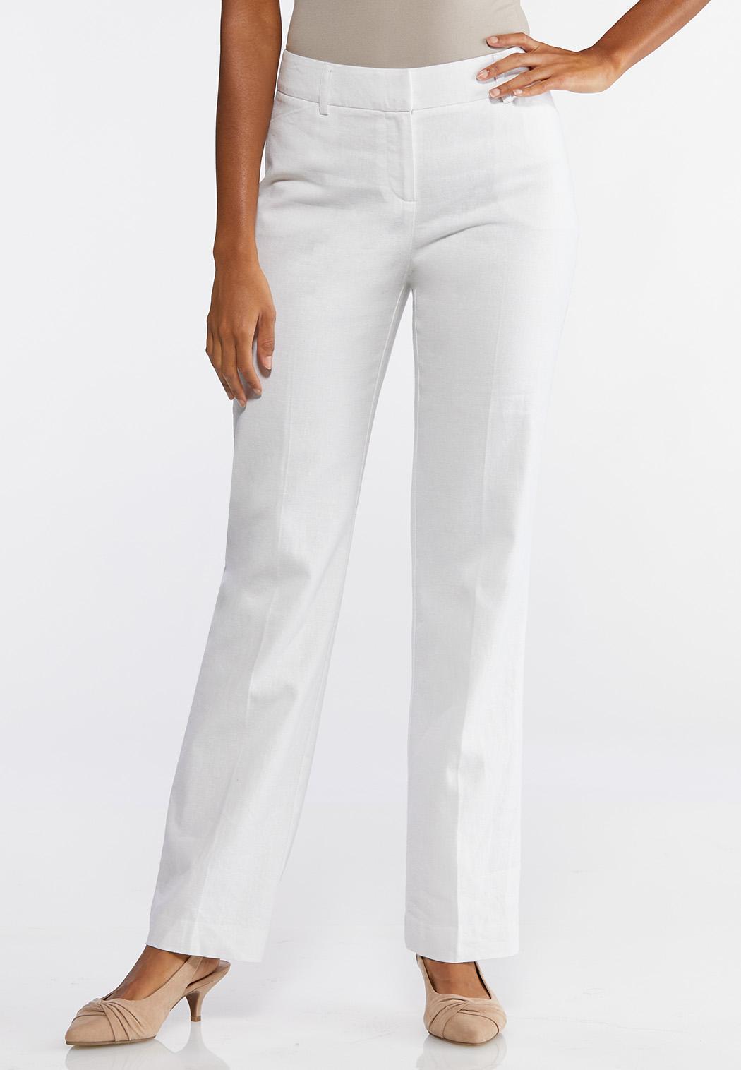 14eecaa738 Petite White Linen Trouser Pants Pants Cato Fashions