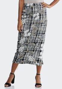 Plus Size Floral Plaid Pencil Skirt