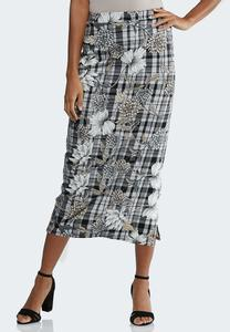 Plus Size Floral Plaid Pencil Skirt