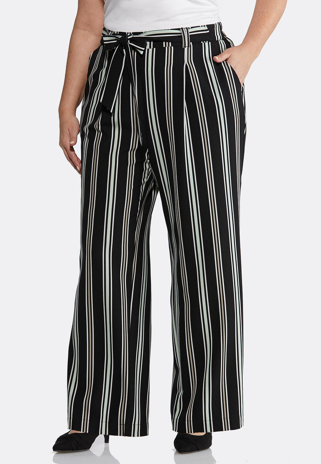 0128c4b8cc Plus Size Striped Tie Front Palazzo Pants Wide Leg Cato Fashions