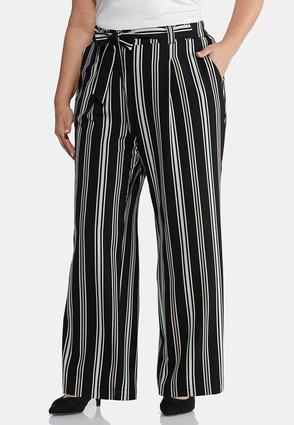 Plus Size Striped Tie Front Palazzo Pants