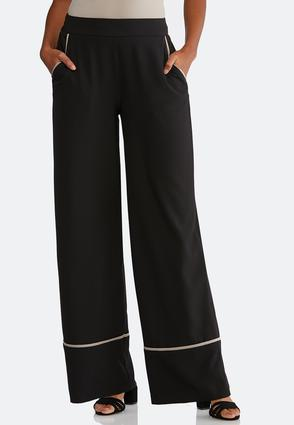 Solid Piped Palazzo Pants