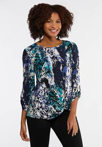 Plus Size Textured Knotted Front Top