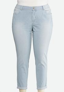 Plus Size Striped Ankle Jeans