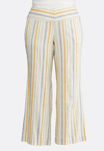 Plus Size Wide Leg Striped Beach Pants