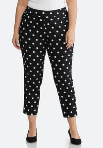 Plus Size Polka Dotted Bengaline Pants