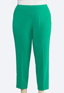 Plus Size Green Slim Ankle Pants