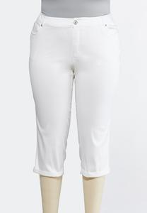 Plus Petite Curvy White Cropped Jeans