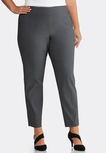Plus Size Pull-On Solid Slim Pants