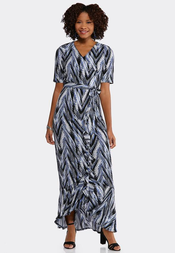 Plus Size Printed Faux Wrap Maxi Dress