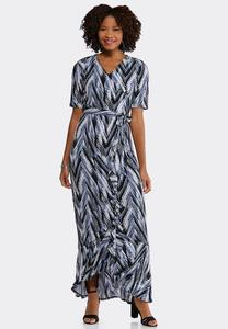 Plus Size Printed Faux Wrap Maxi Dress