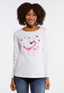 Embroidered Flamingo Heart Tee