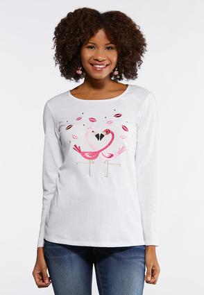 Plus Size Embroidered Flamingo Heart Tee