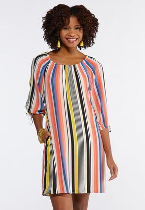 Plus Size Bright Stripe Shift Dress