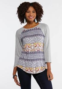 Heather Gray Mixed Paisley Top