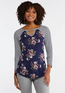 Plus Size Navy Mixed Print Top
