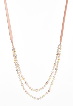 Layered Pearl Ribbon Necklace