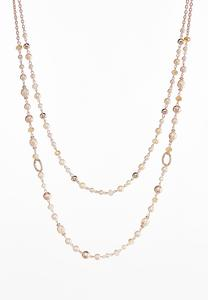 Double Row Pearl Strand Necklace
