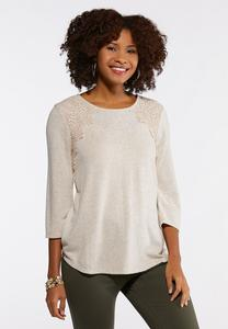 Plus Size Embellished Crochet Trim Top