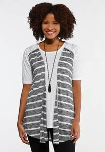 Plus Size Stripe Lace Yoke Vest
