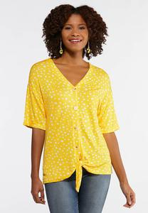Yellow Dotted Tie Front Top