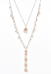 Layered Pearl Tassel Necklace