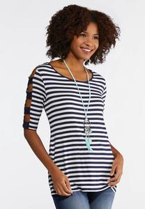Plus Size Stripe Ladder Sleeve Top