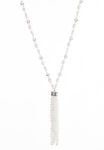 Pearl Rondelle Tassel Necklace