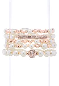 Mixed Pearl And Bead Bracelet Set