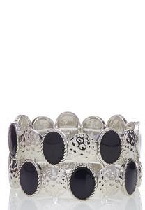 Hammered Enamel Stretch Bracelet
