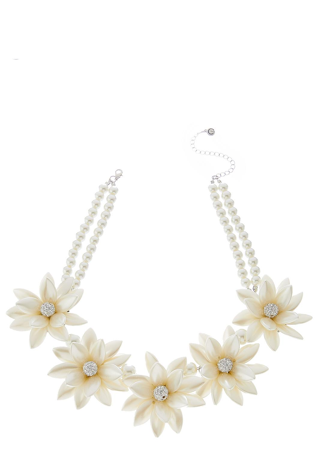 Flower Pearl Statement Necklace
