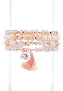 Rose Gold Pearl Stretch Bracelet Set