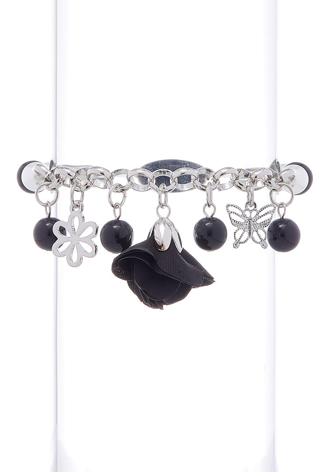 Flower Butterfly Charm Stretch Bracelet