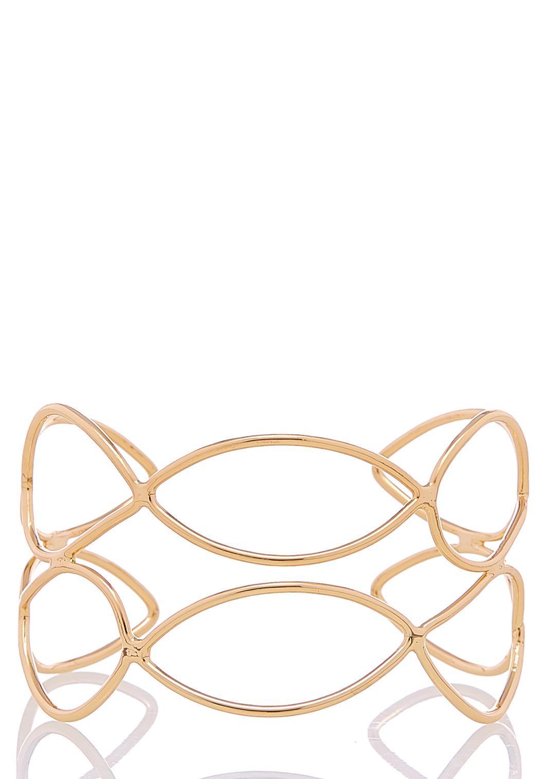 Open Oval Gold Cuff Bracelet